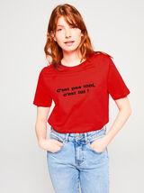 T-shirt Saint Valentin rouge en coton issu de l'ag