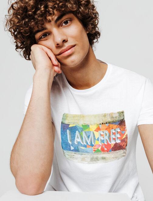 "T-shirt blanc photoprint graffiti ""I AM FREE"" homme"