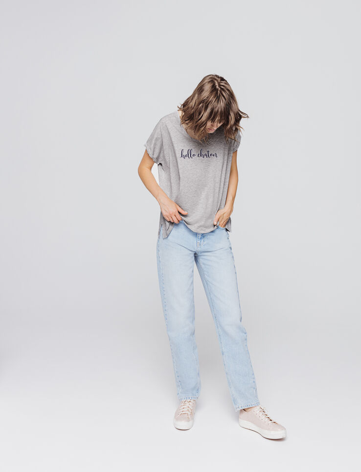 T-shirt col V à message