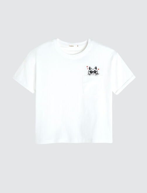 T-shirt poche fantaisie femme
