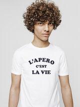 T-shirt neps à message l'apéro c'est la vie