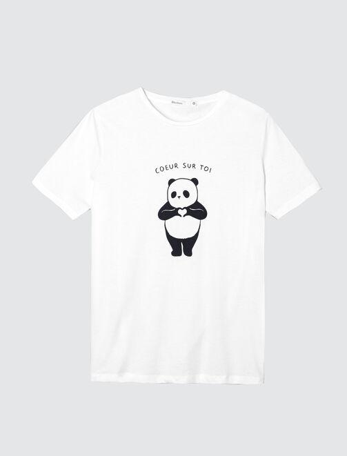 """T-shirt panda """"Cœur sur toi"""" femme"""