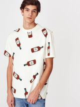 T-shirt imprimé sauce pimentée en coton BIO