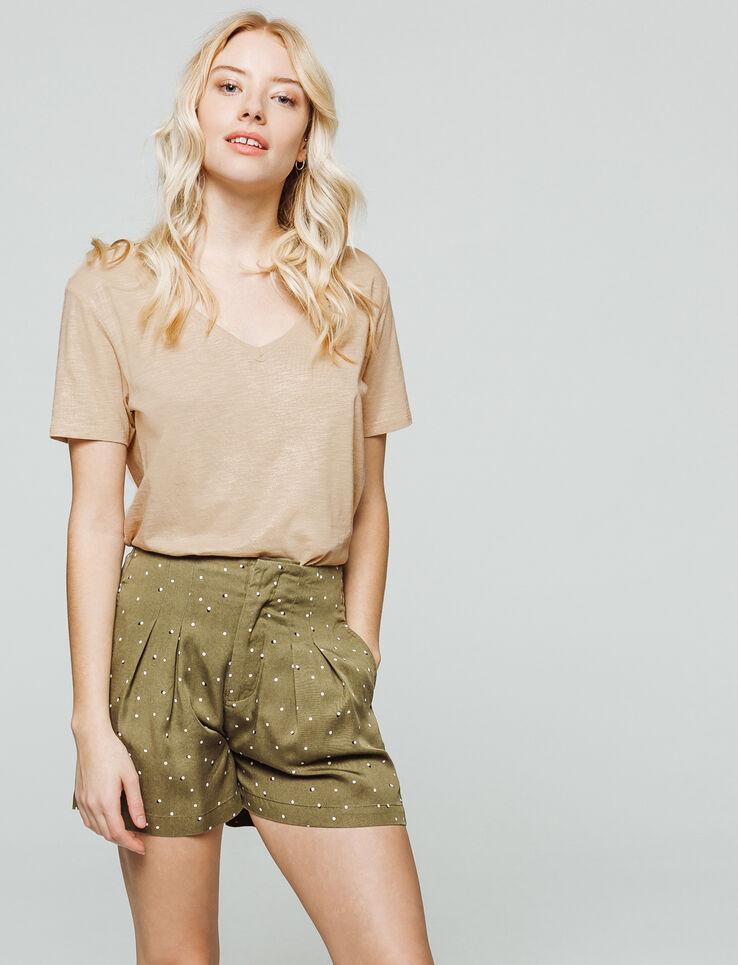 T-shirt col V brillant