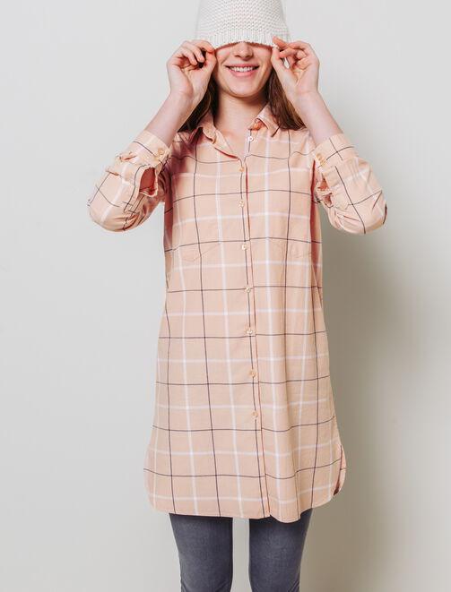 Robe chemise à carreaux femme