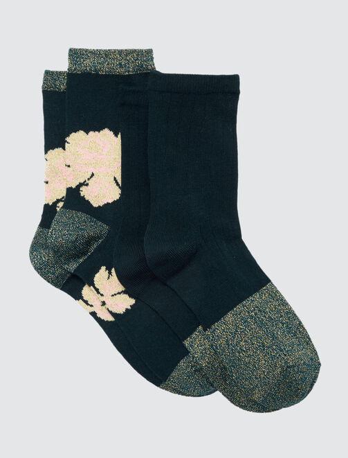 Lot*2 Chaussettes Fleuries Lurex femme