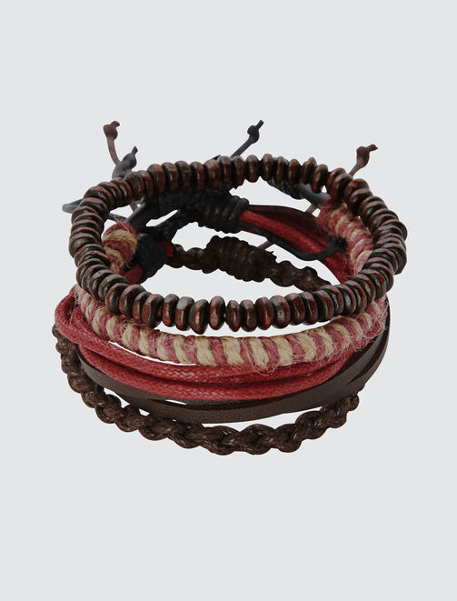 Set de Bracelets Marron et Bordeau homme