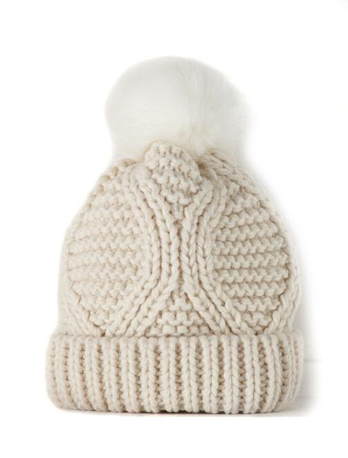 Bonnet pompon fourrure tricoté main femme