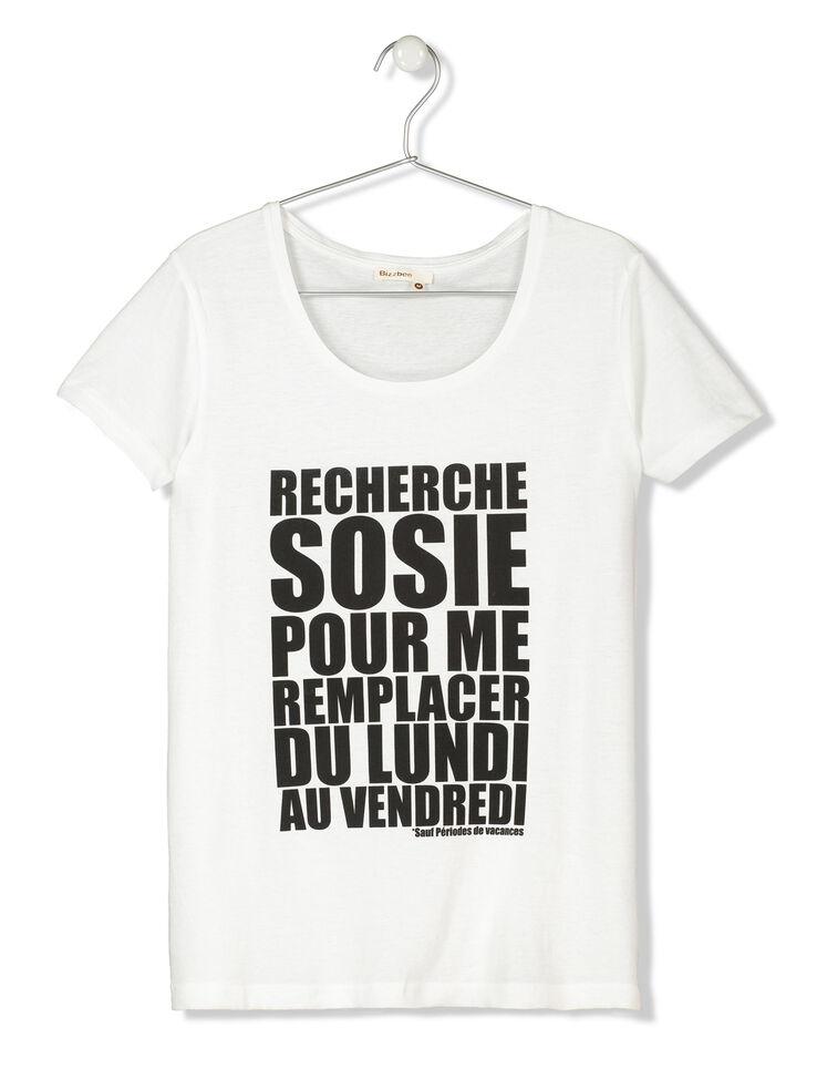 T-shirt manches courtes à message femme