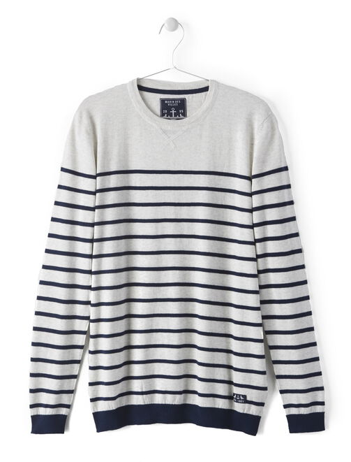 Pull col rond marin homme