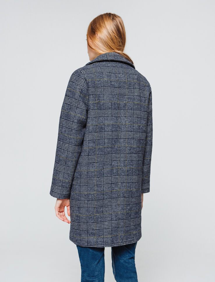 Manteau lainage carreaux - laine majoritaire