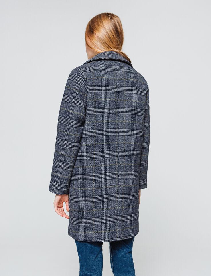 Manteau lainage carreaux - laine majoritaire