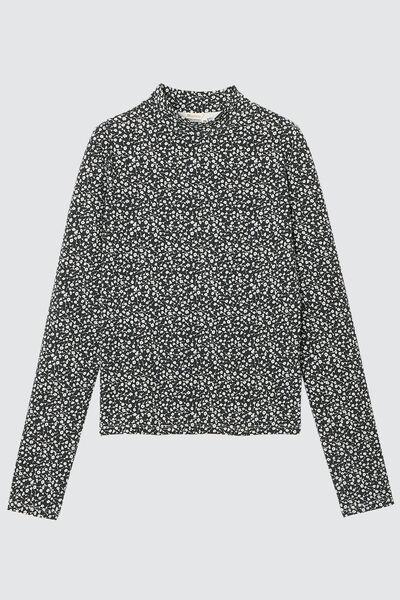 T-shirt col montant en coton bio motif fleuri
