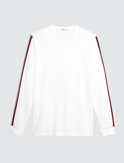 T-shirt uni manches longues bande sport rayée homme