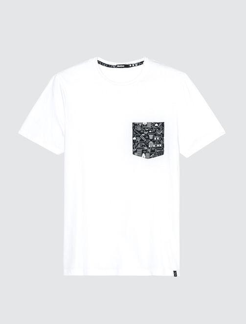 T-shirt uni poche printée homme