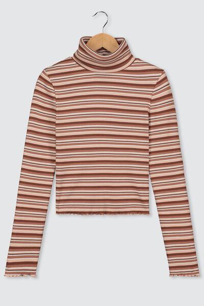 T-shirt col roulé rayé bio