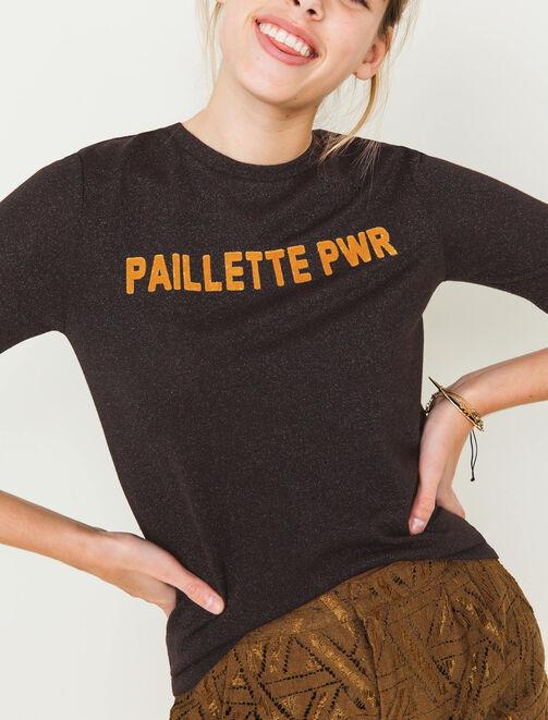 T-shirt brillant à message en relief femme