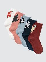 Lot de 5 Chaussettes Animées Cheville Animaux