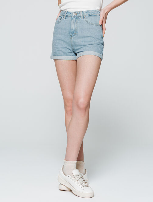 Short en jean taille haute femme