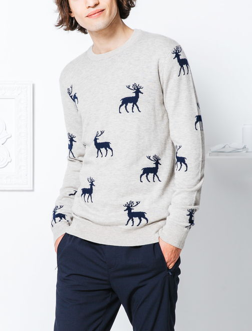 Pull col rond jacquard motifs cerf homme