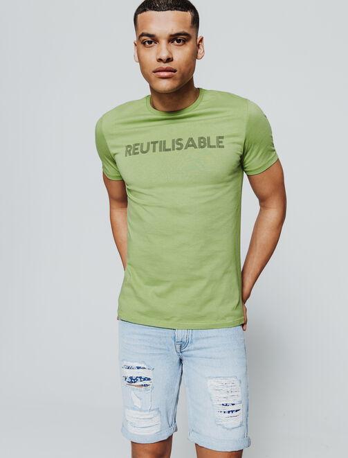 """T-shirt en coton bio et message """"RÉUTILISABLE"""" homme"""