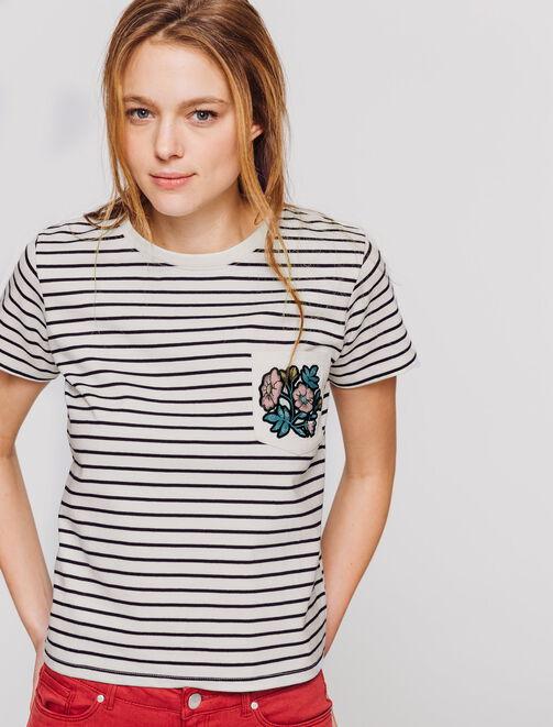 T-shirt marinière, poche brodée femme