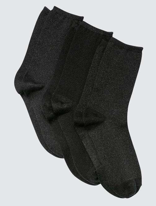 Lot de 3 Chaussettes Lurex Noir femme