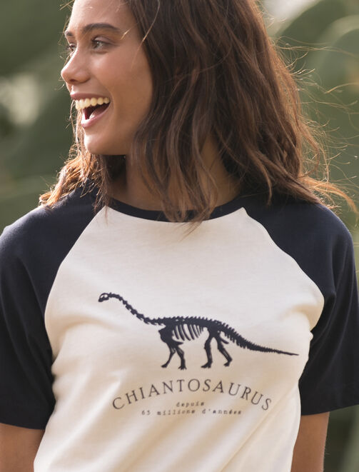 "T-shirt Eco responsable bi-color ""Chiantosaurus"" femme"