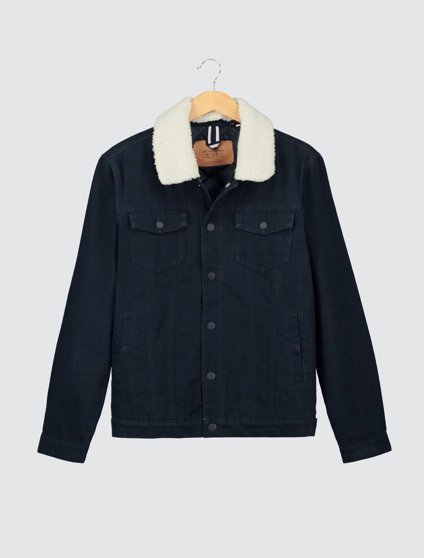 Veste twill couleur col sherpa amovible