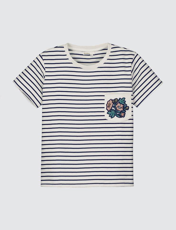 T-shirt marinière, poche brodée