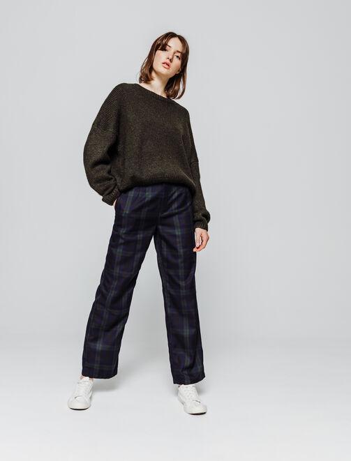 Pantalon flare carreaux femme