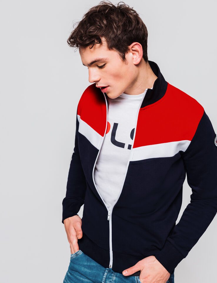 Sweat zippé col montant colorblock