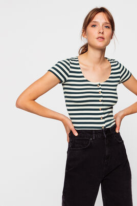 T-Shirt manches à cotes rayé