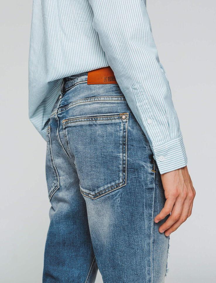 Jean skinny destroy délavage clair