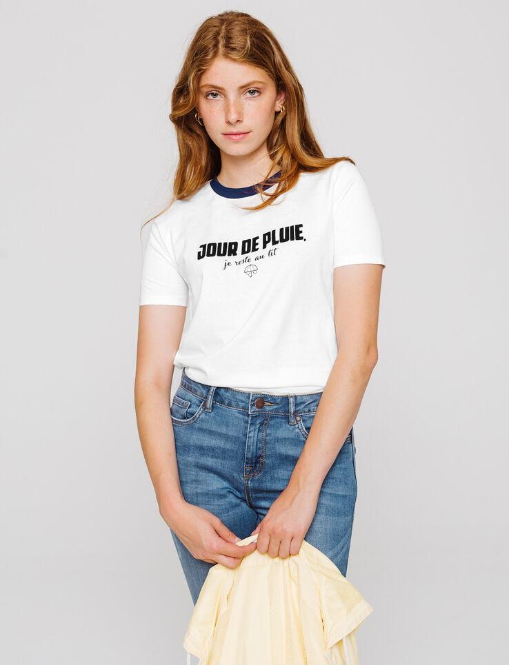 """T-shirt à message """"Jour de pluie, je reste au lit"""""""