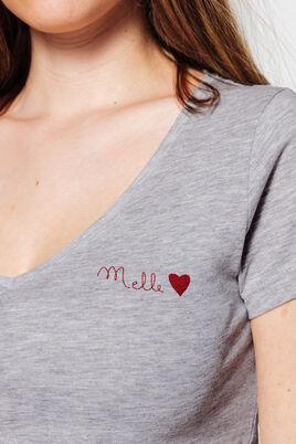 T-shirt col V imprimé poitrine