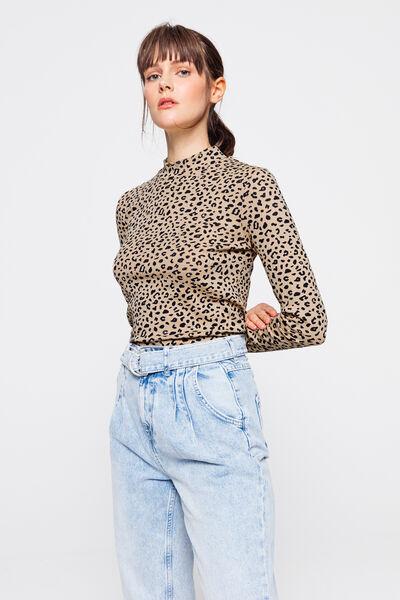 T-shirt col montant imprimé léopard