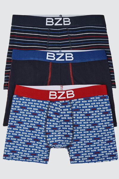 Boxers Fantaisies Bleu Blanc Rouge, lot*3
