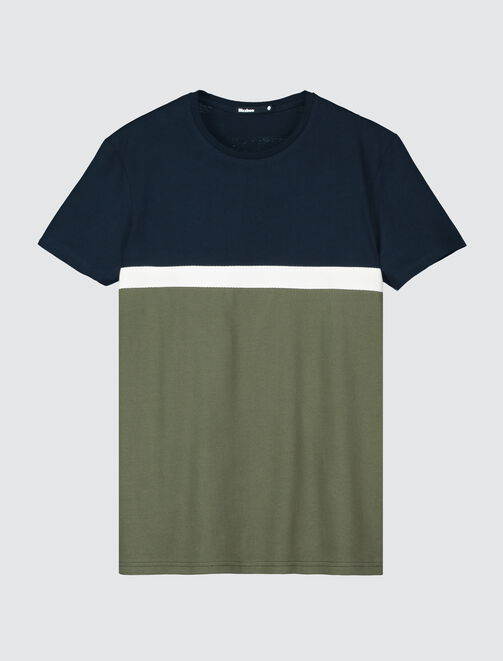 T-shirt colorblock bande twill  homme