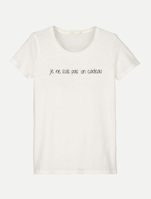 """T-shirt message""""Je ne suis pas un cadeau"""" femme"""