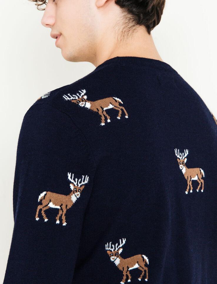 Pull col rond Jacquard motif renne