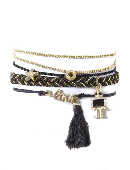 set de bracelet noir doré femme