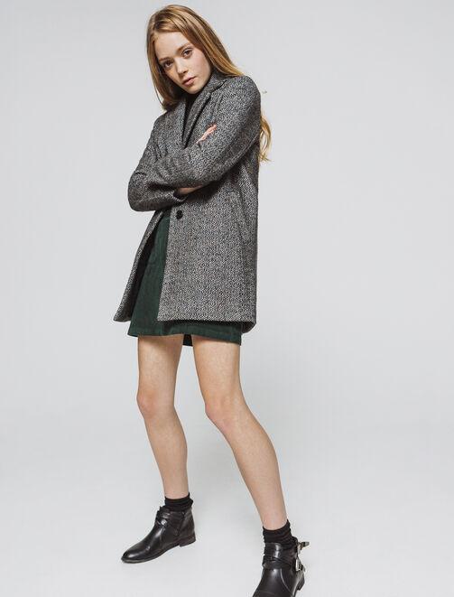 Manteau lainage chevrons - laine majoritaire femme