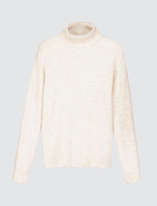 Pull uni col montant femme