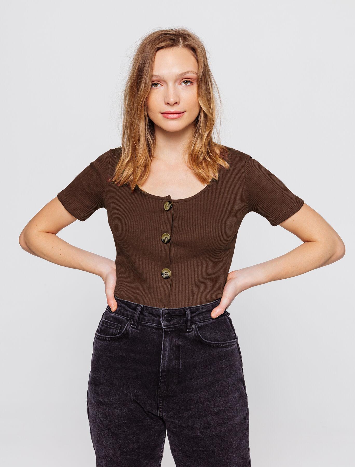 T-shirt à côtes boutonné