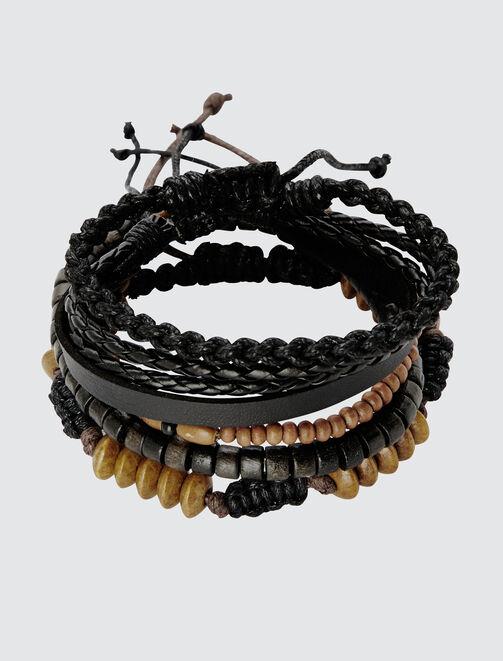 Set Bracelets Noir et Bois homme