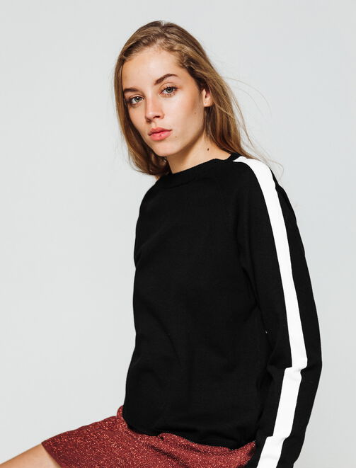 Pull col rond sportif  femme