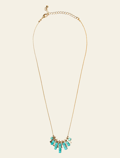 Collier ras-du-cou  triangles pierres bleutées femme