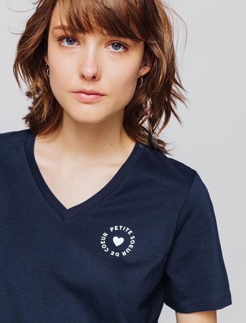 """T-shirt col V message """"petite sœur de coeur"""" & """"gr femme"""