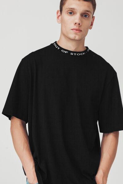 T-shirt colletage jacquard printé